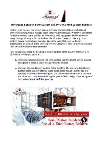 Difference Between Semi Custom And One Of A Kind Custom Builders By Marwood Construction Issuu