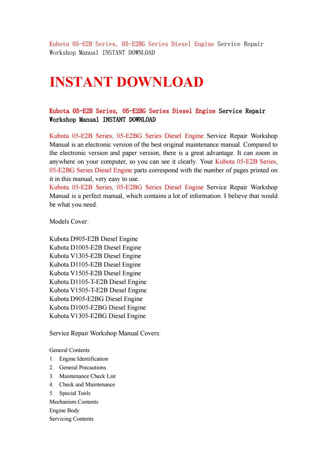 Kubota 05 e2b series, 05 e2bg series diesel engine service repair workshop  manual instant download by kjjsefhsjef - issuu