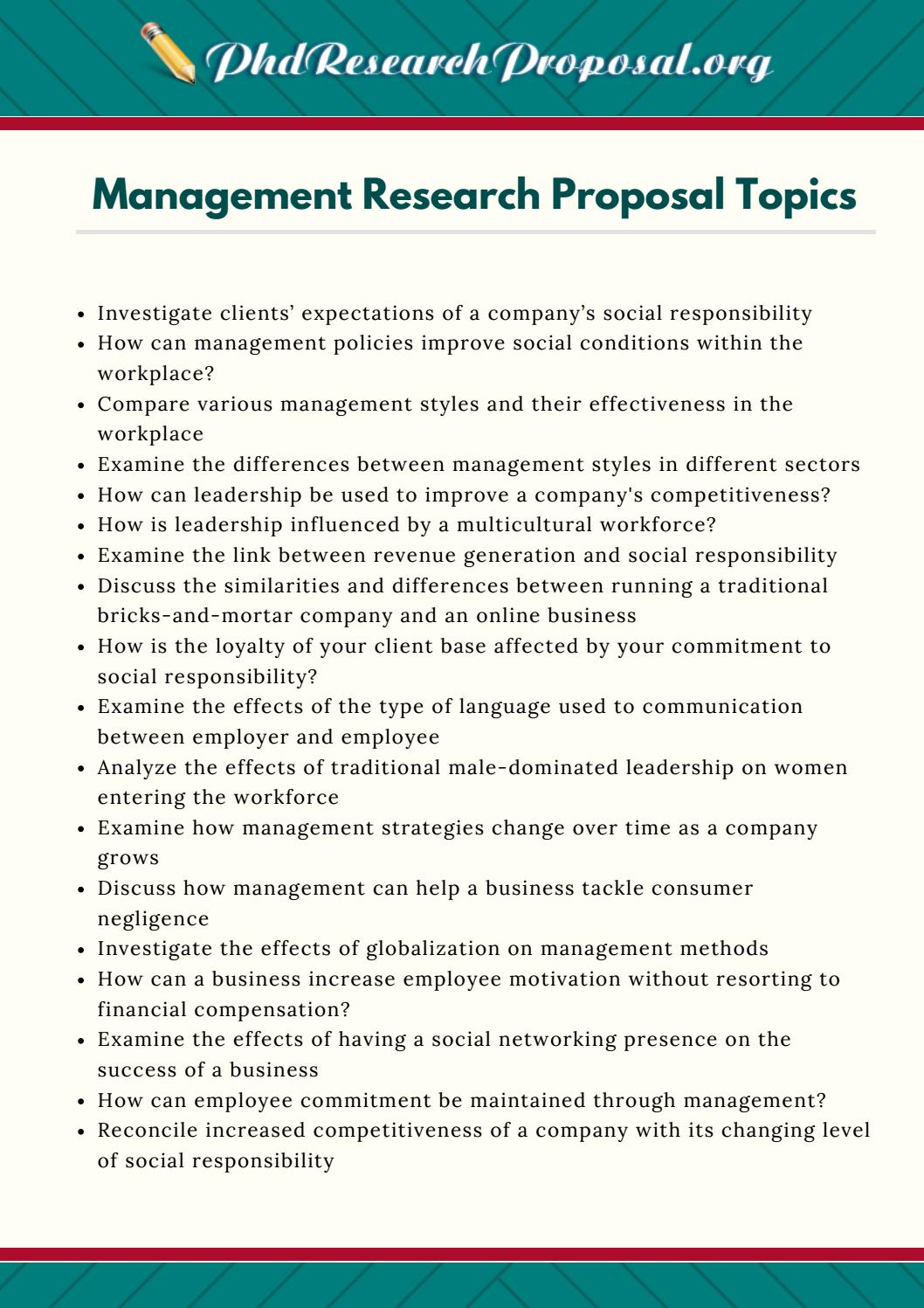 Phd research proposal sample management