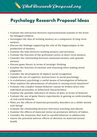 Psychology Research Proposal Ideas By Phd Research Proposal Topics