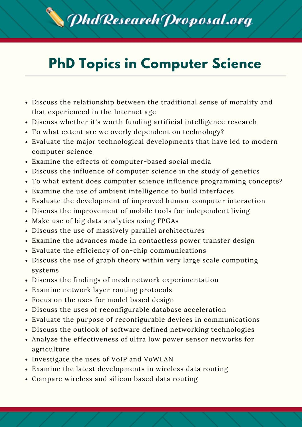 Phd thesis proposal in computer science
