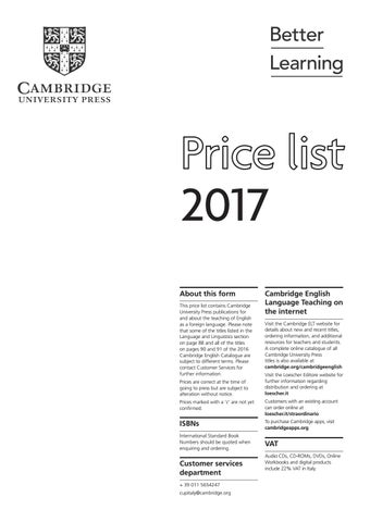 Cambridge university press elt price list 2017 italy by cambridge 2017 about this form this price list contains cambridge university press publications for and about the teaching of english as a foreign language fandeluxe Gallery