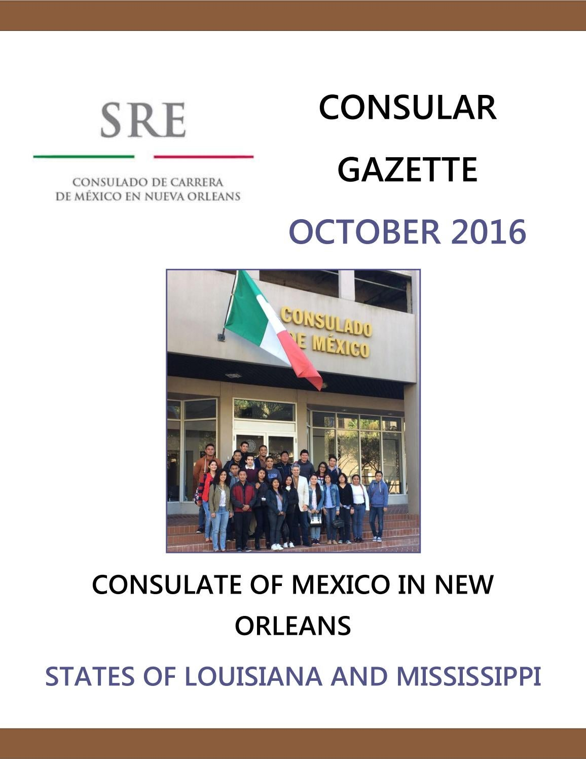 Mexican Consulate in New Orleans, Consular Gazette October 2016 by ...