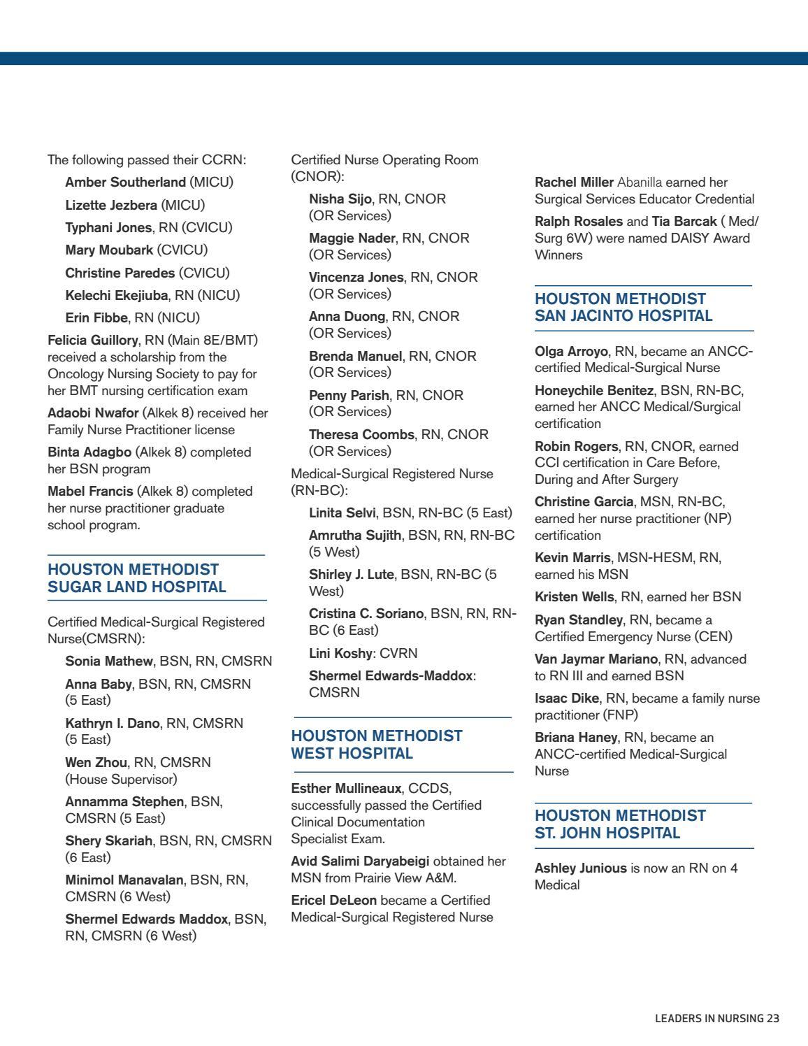 Houston Methodist Nursing Magazine Winter 2016 By Houston Methodist