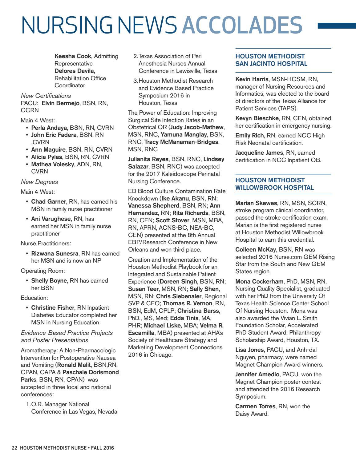 Houston Methodist Nursing Magazine Fall 2016 By Houston Methodist