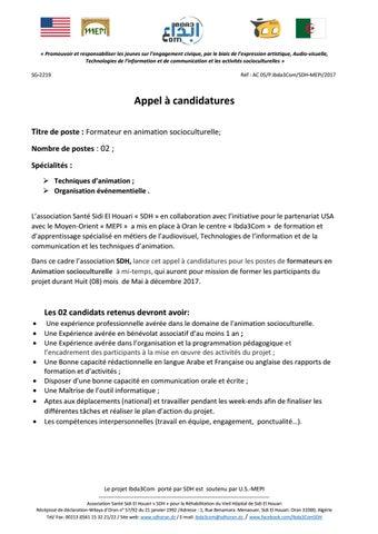 3 Appel à Candidatures Animateur Socioculturel By Bereksi