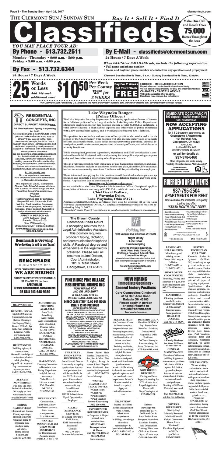 Clermont Sun Classifieds April 20 2017 By Clermont Sun Publishing