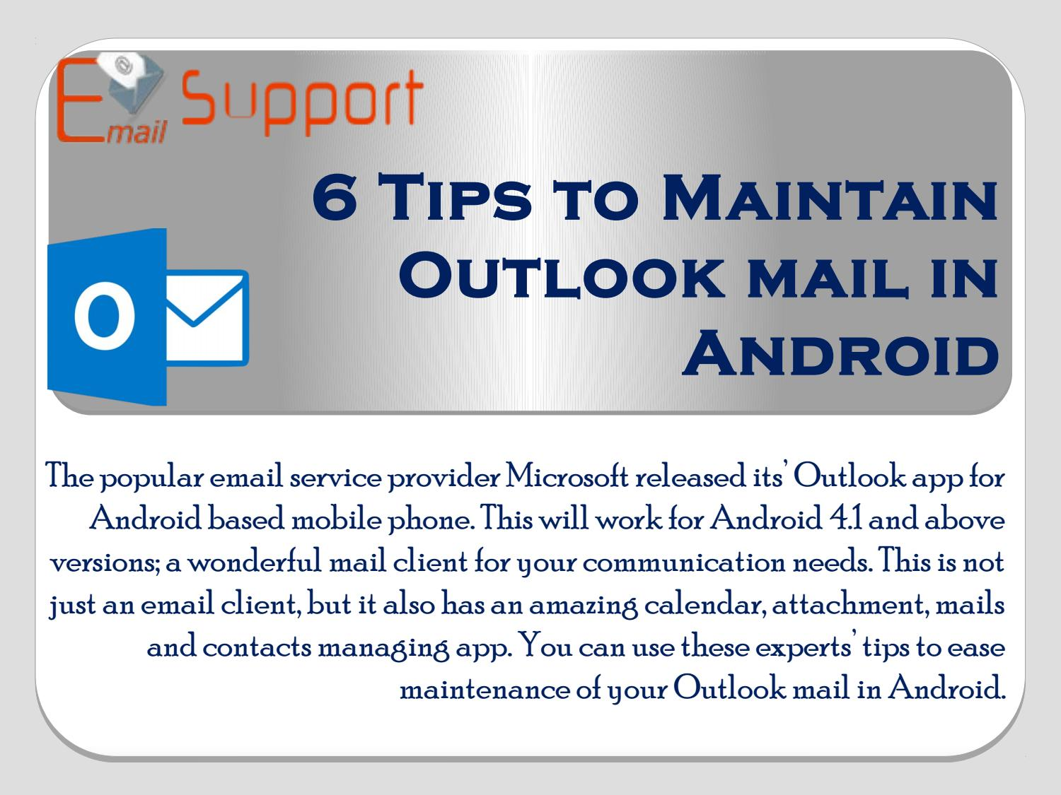 6 Tips to Maintain Outlook mail in Android by Lisamoris - issuu
