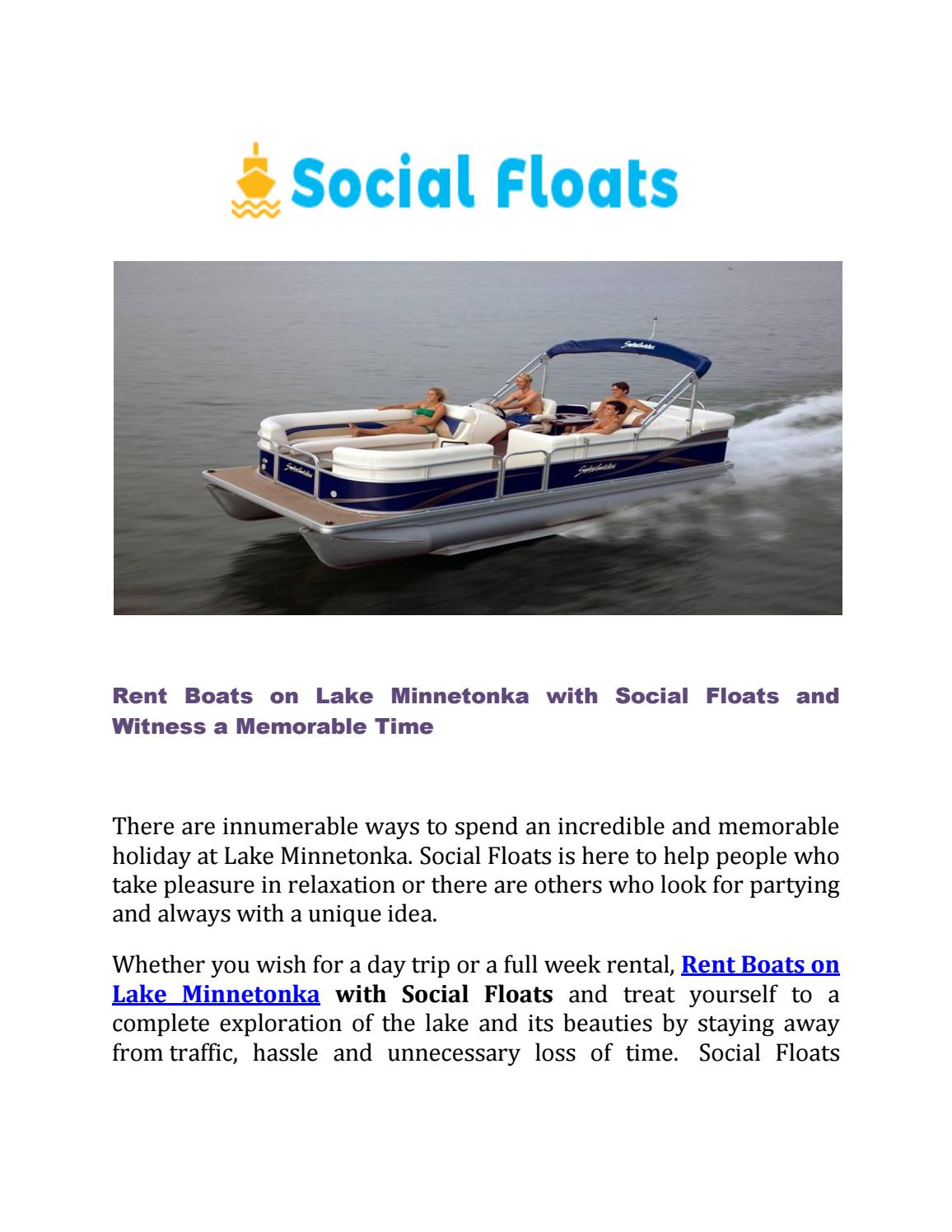 Rent Boats On Lake Minnetonka With Social Floats By