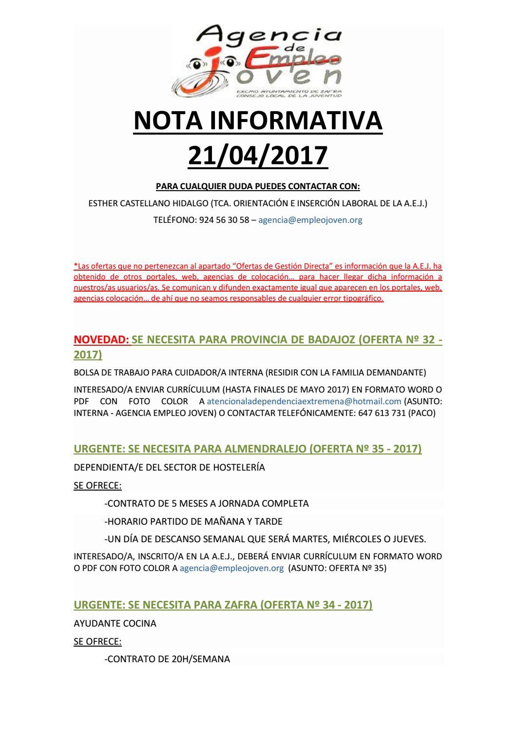 NOTA INFORMATIVA 21/04/2017 by Segura Al Día - issuu