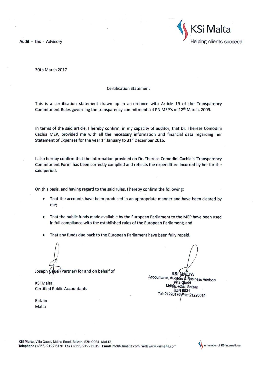 Annual Transparency Commitment Form Certification Statement 2017