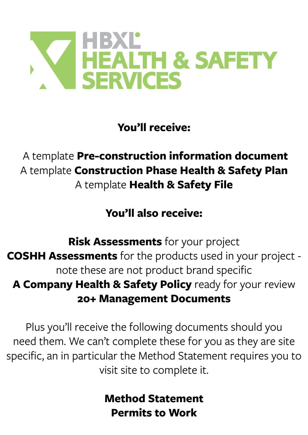 Health Safety Samples HBXL Professional Services – Health and Safety Method Statement Template