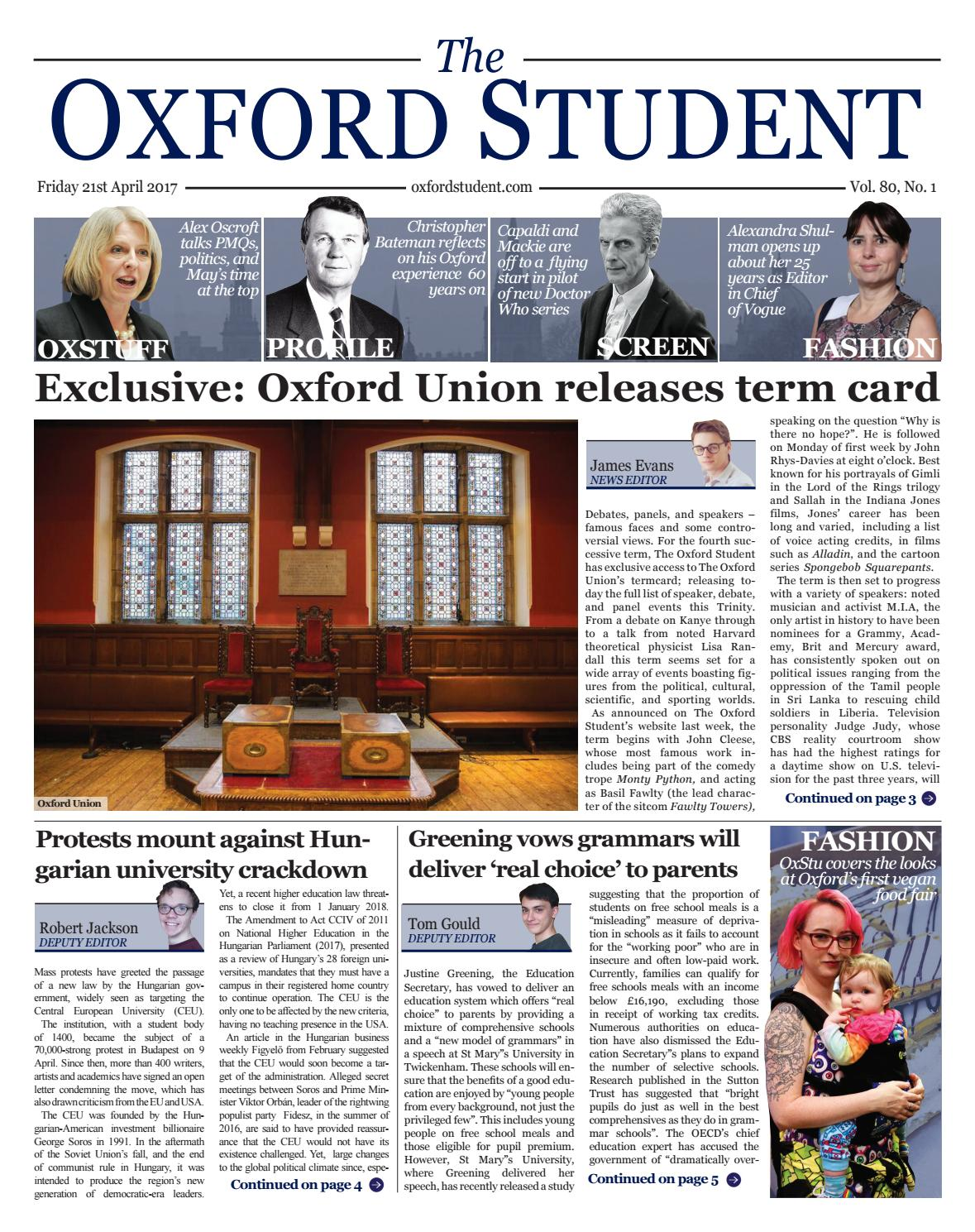 The Oxford Student | Trinity 2017 | Issue 1 by Oxford