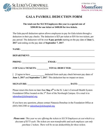 2017 Gala Payroll Deduction Form By St. Luke'S Cornwall Hospital