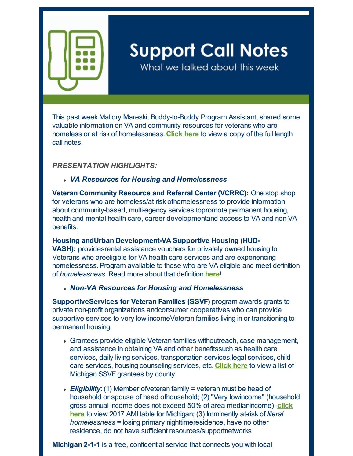 Support Call Notes | VA and Non-VA Resources for Veterans at