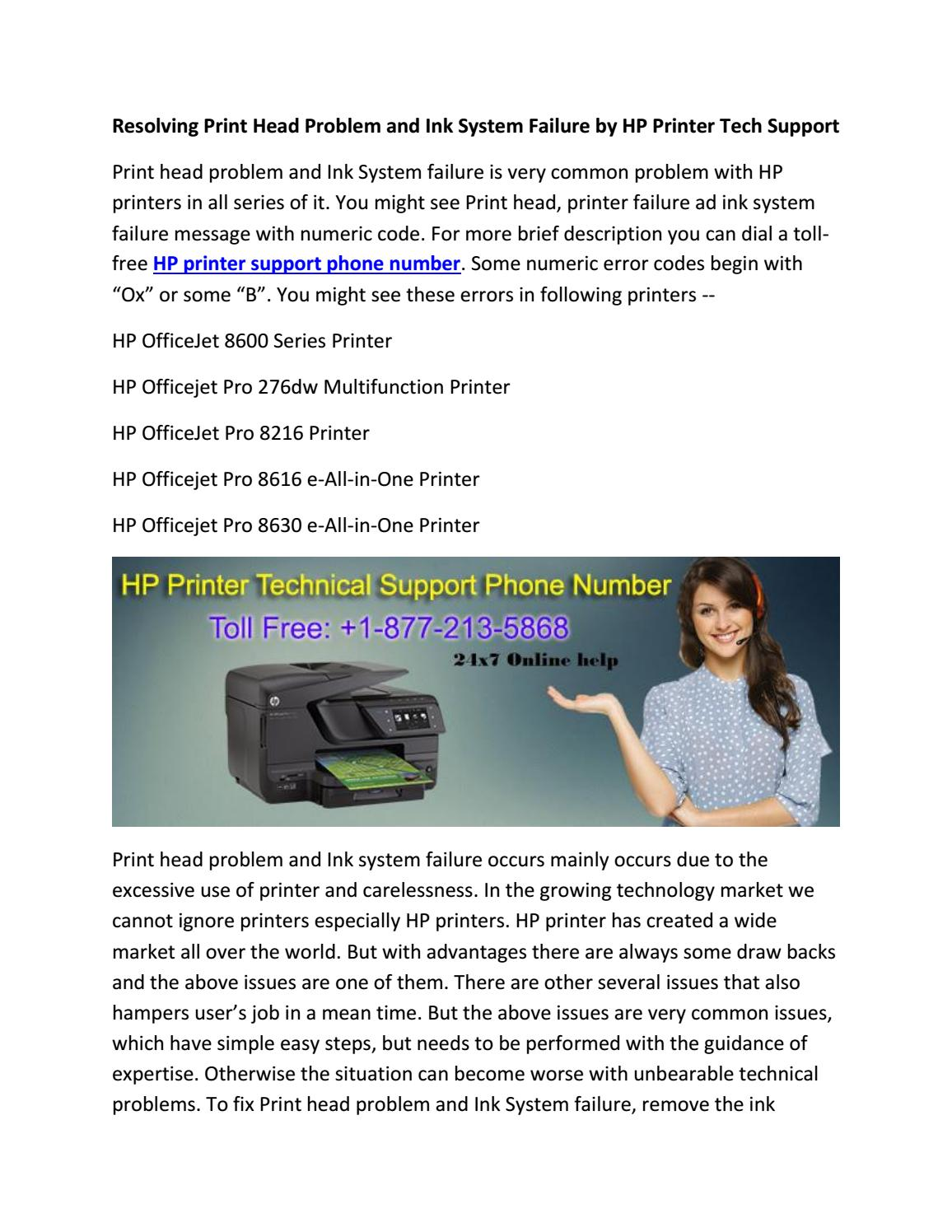 Resolving print head problem and ink system failure by hp printer