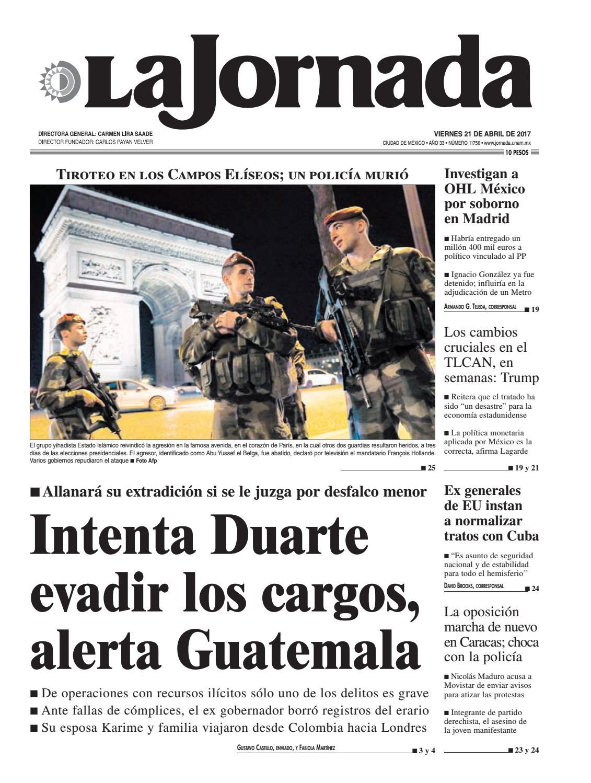 La Jornada, 04 21 2017 by La Jornada  DEMOS Desarrollo de Medios SA de CV -  issuu 803d2261c5