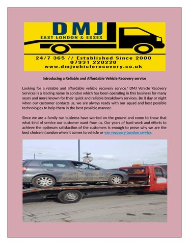 dmj vehicle recovery services in london by dmj vehicle recovery issuu rh issuu com Rotating Flatbed Recovery