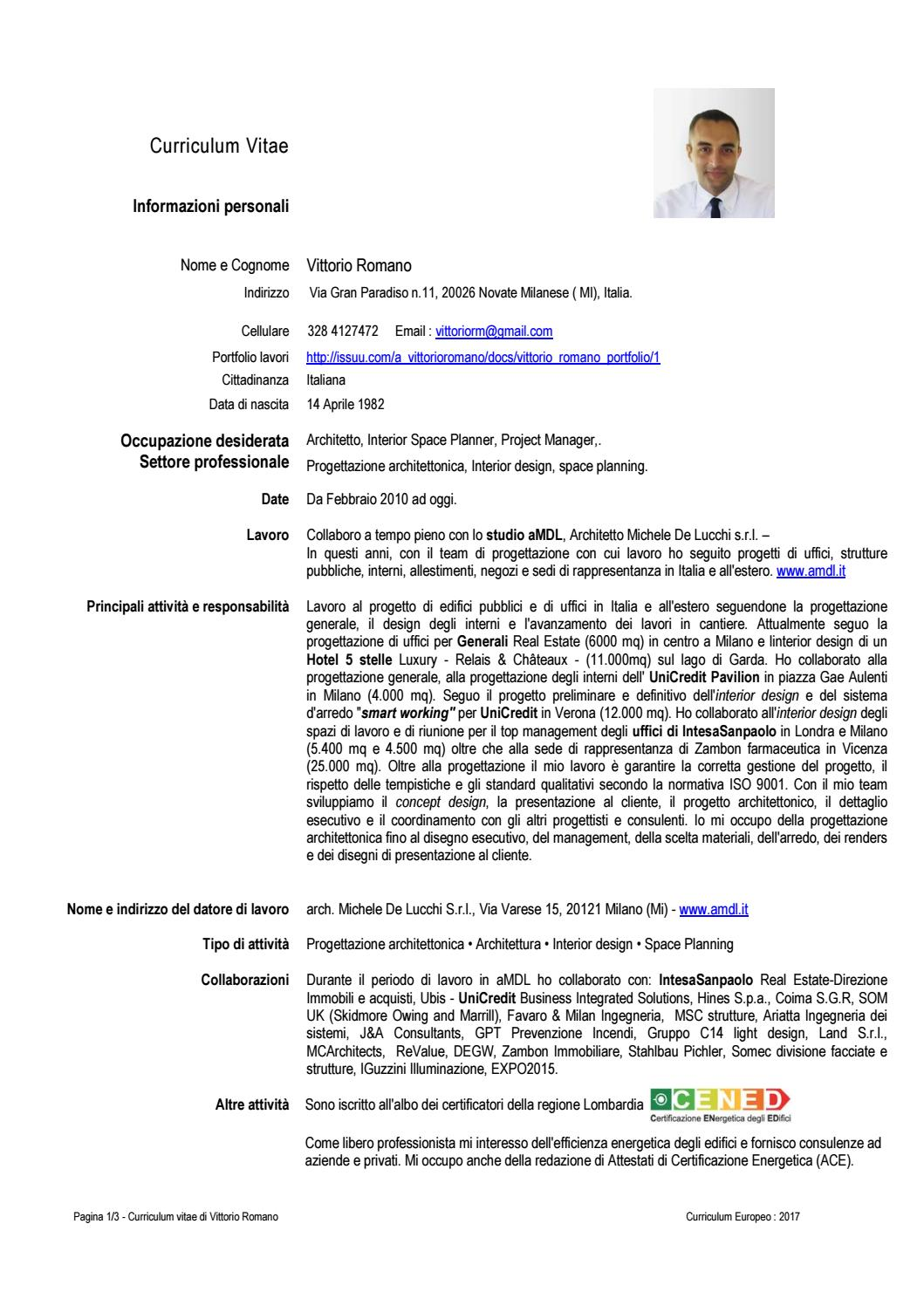 Vittorio Romano Curriculum Vitae By Vittorio Romano Issuu