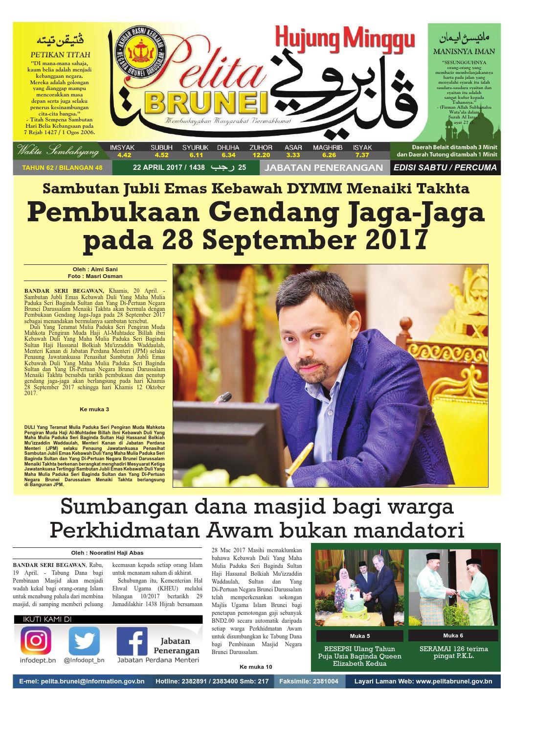 Pelita Brunei Sabtu 22 April 2017 By Putera Katak Brunei