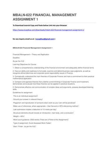 mbaln financial management assignment by annettenielsen issuu mbaln622 financial management assignment 1 to tutorial copy and paste below link into your browser