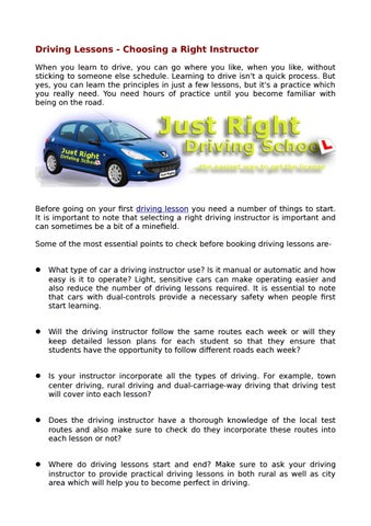 Driving Lessons - Choosing a Right Instructor by Just Right
