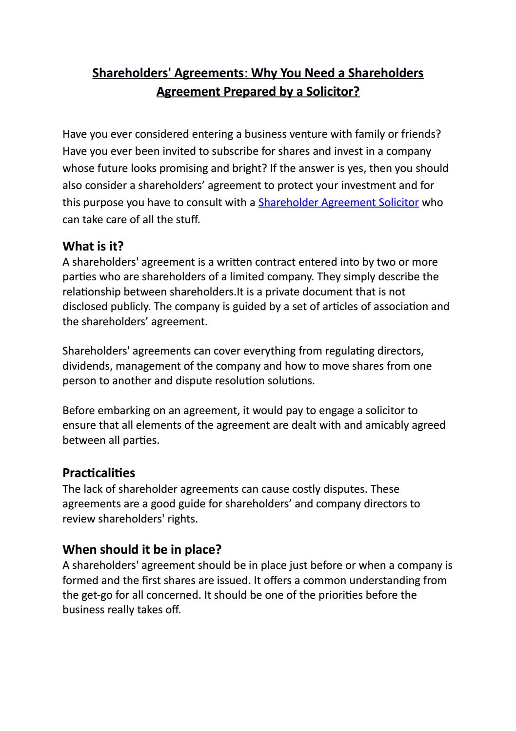 Shareholders Agreements Why You Need A Shareholders Agreement
