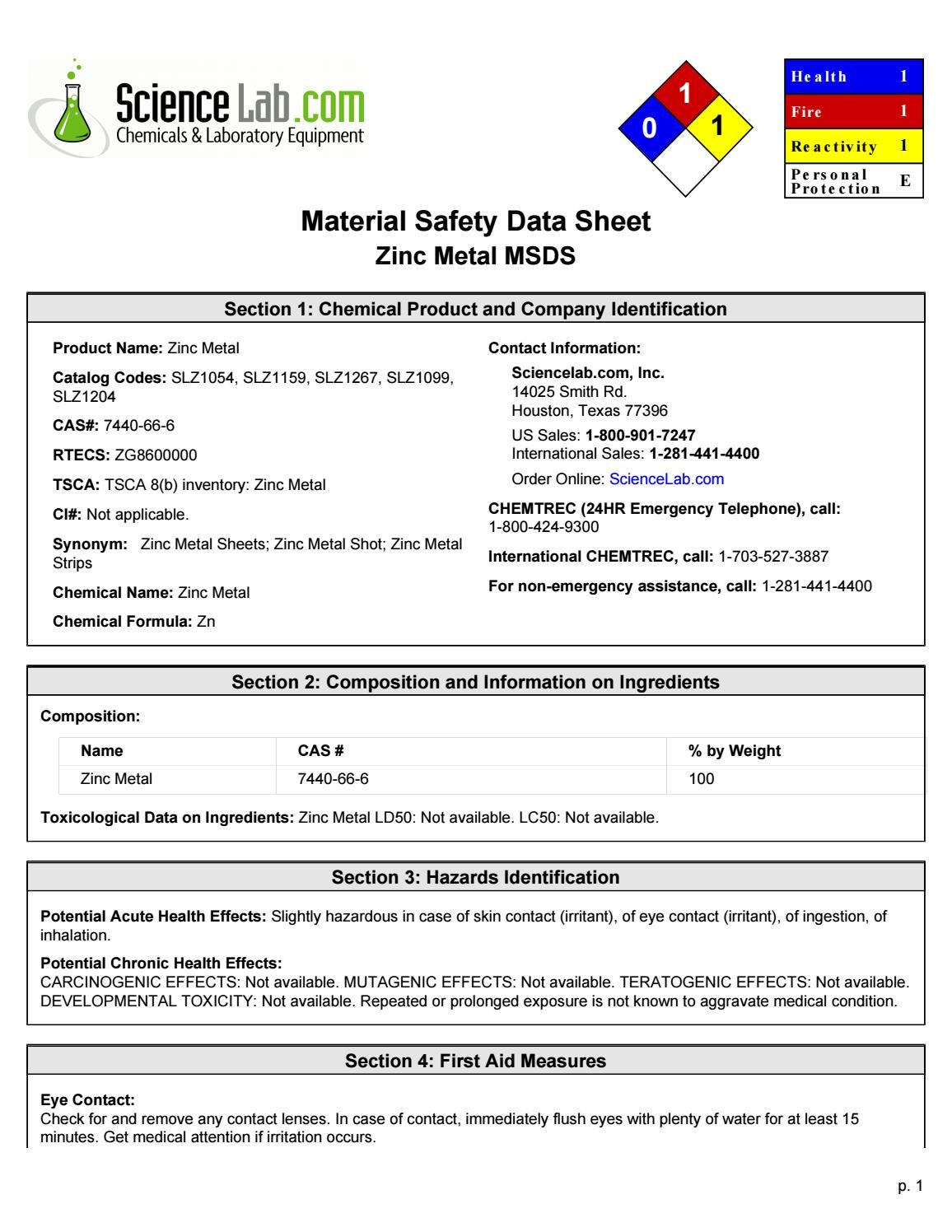 Zinc Metal Msds By Vincent Issuu