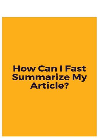 summarize my article