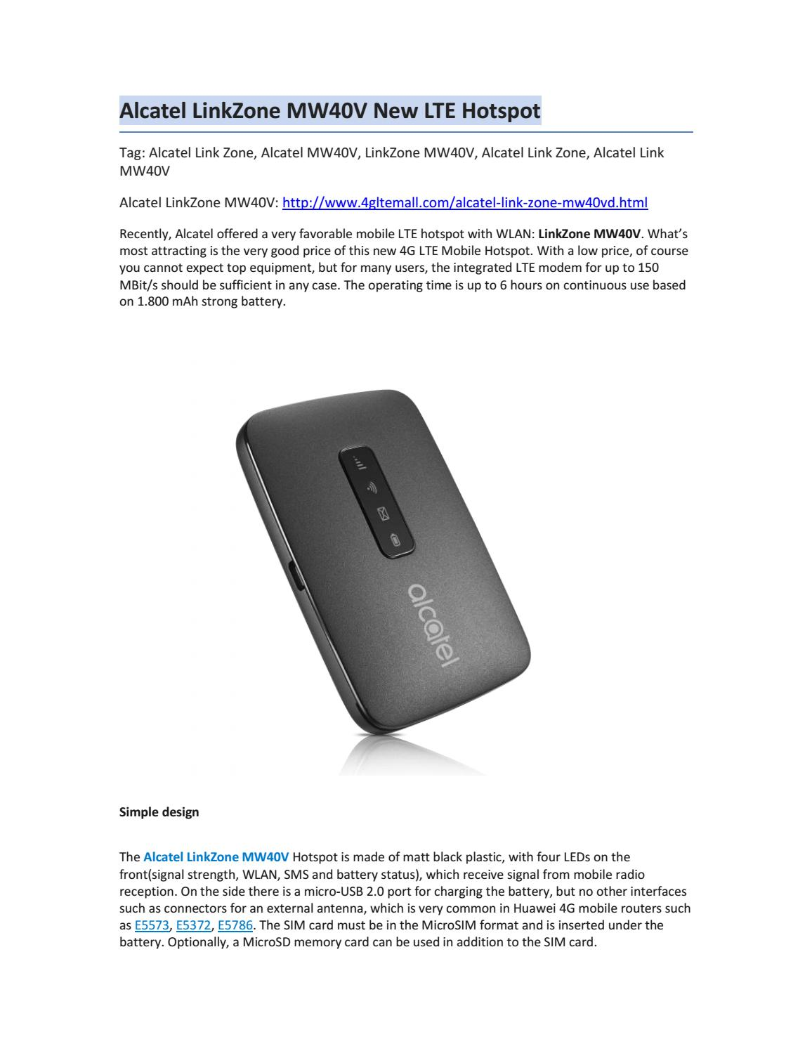 Alcatel LinkZone MW40V New LTE Hotspot by Lte Mall - issuu