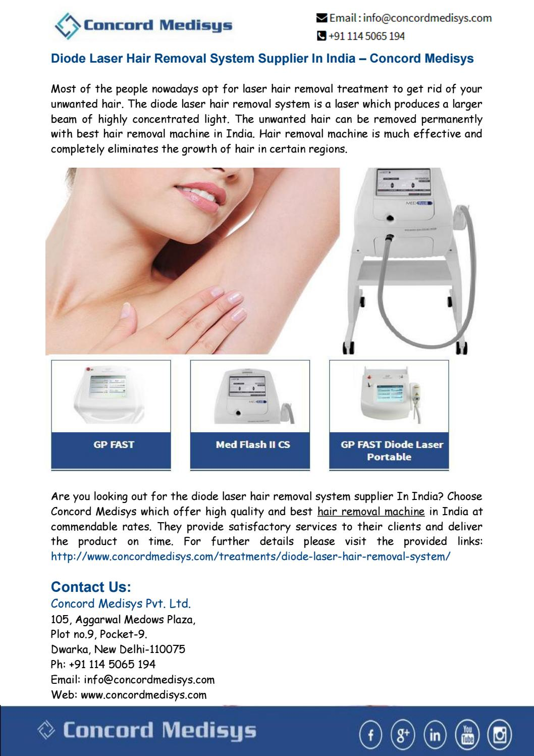 Diode Laser Hair Removal Machine Supplier India By Concord Medisys