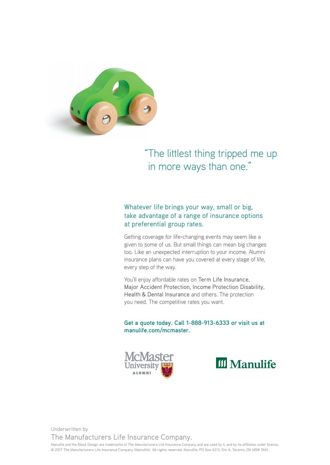 Manulife Life Insurance Quote Spring Mcmaster Times 2017Mcmaster University  Issuu