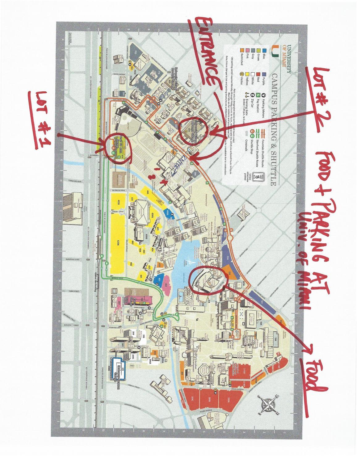 parking map at university of miamib. green media