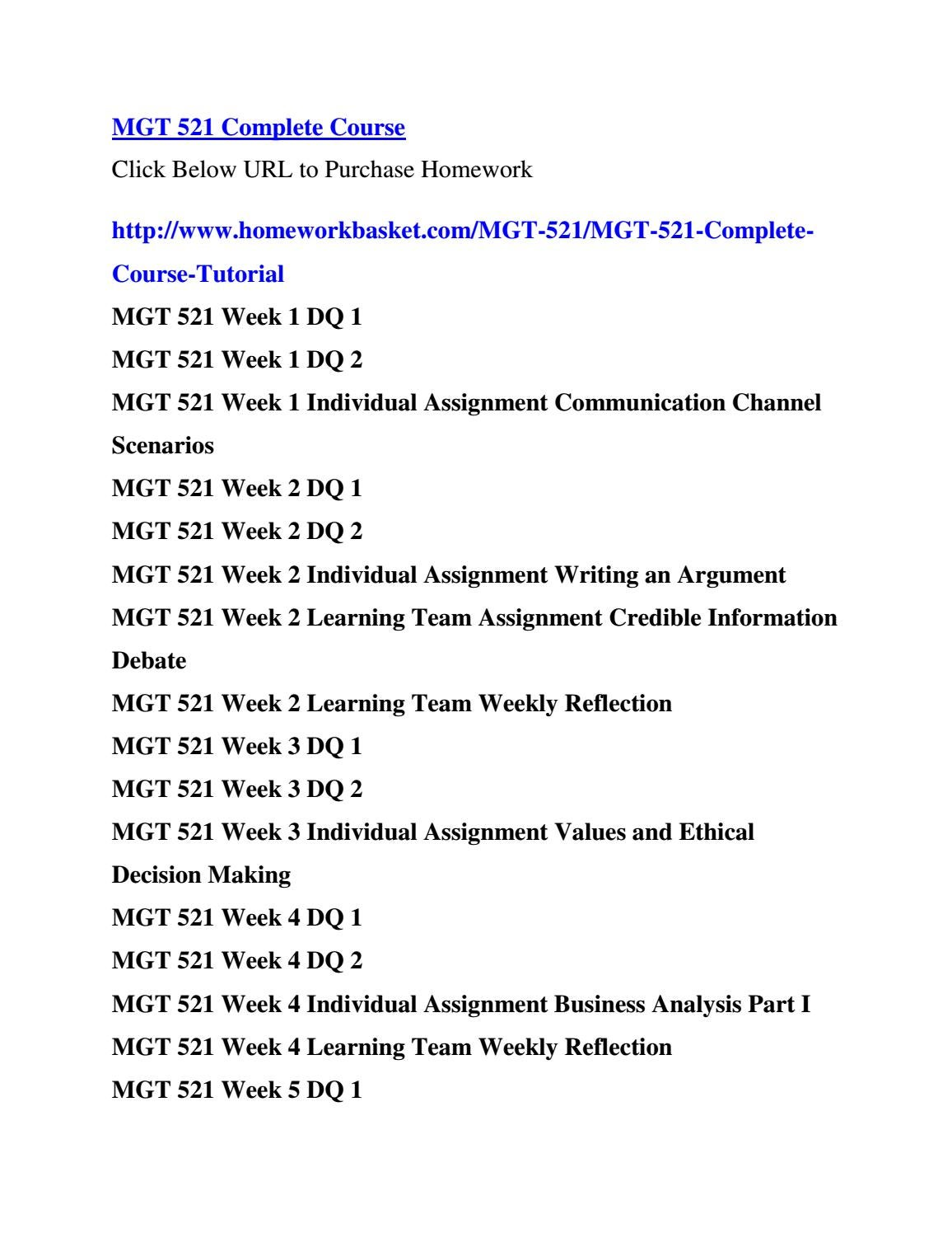 mgt 521 week 5 learning team Mgt 521 team c week 5 team reflectio 1004 words e-text learning team assignments acc/400 week 5: e-text learning team assignments financial.
