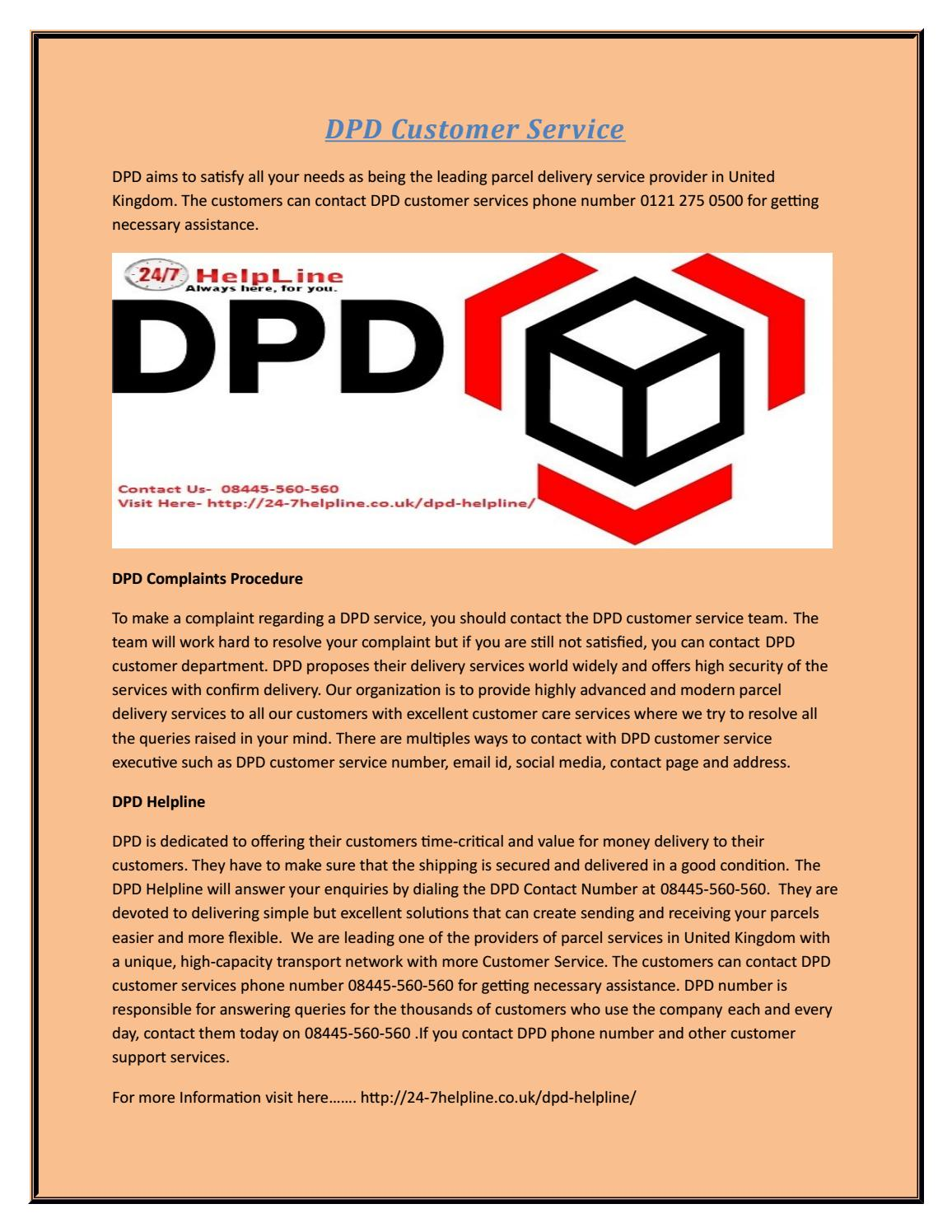 DPD contact phone number by 24-7helpline - issuu