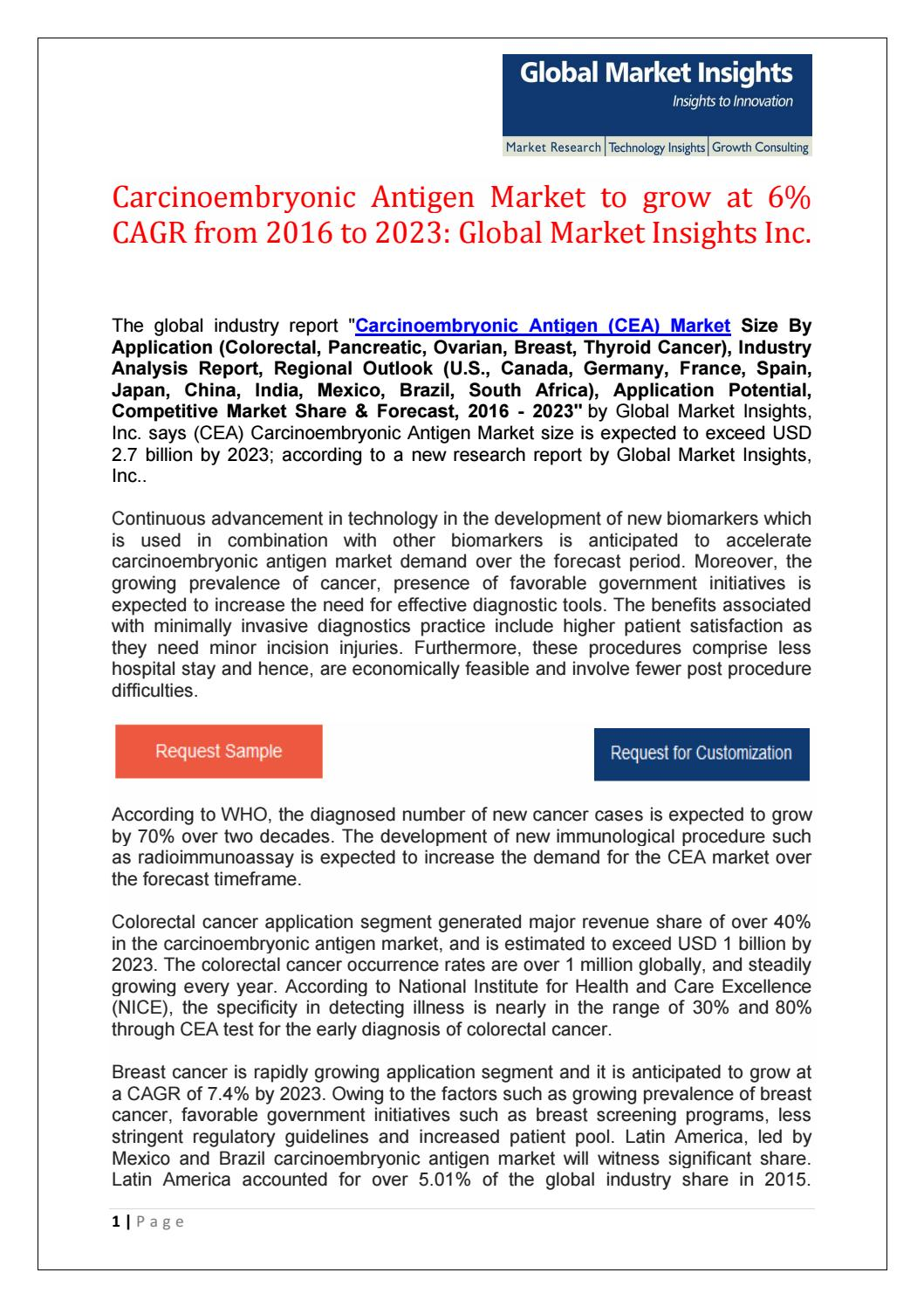 Carcinoembryonic Antigen Market To Reach 2 7bn By 2023 By Jueekate Issuu