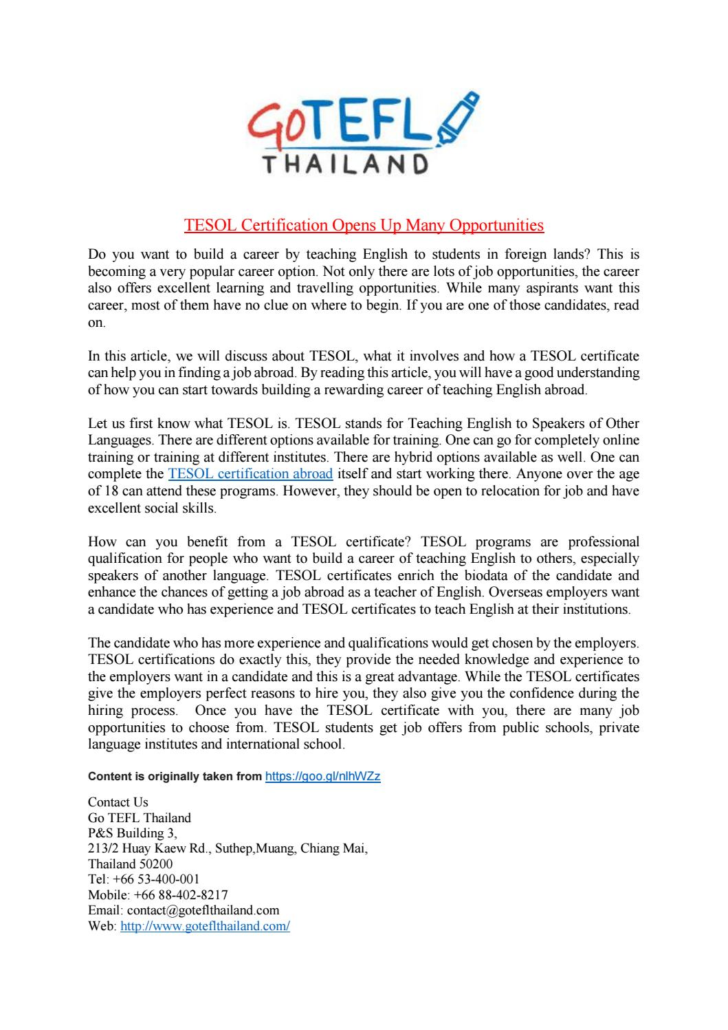 Tesol Certification Opens Up Many Opportunities By Go Tefl Thailand