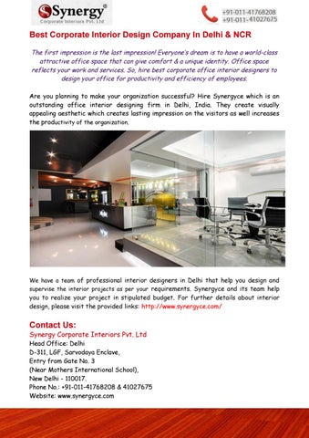 benefits of hiring interior designers in delhi for your office by