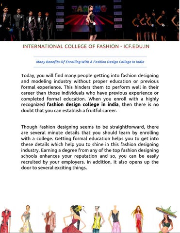 Many Benefits Of Enrolling With A Fashion Design College In India By Binary Bulls Media Issuu