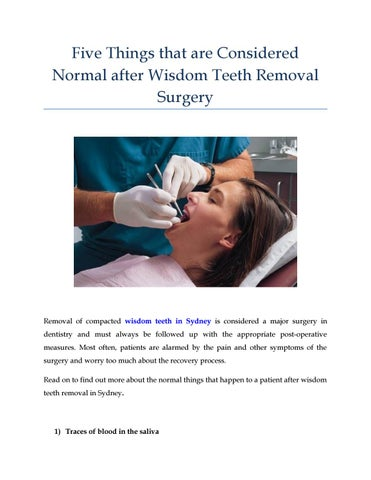 Five Things That Are Considered Normal After Wisdom Teeth Removal