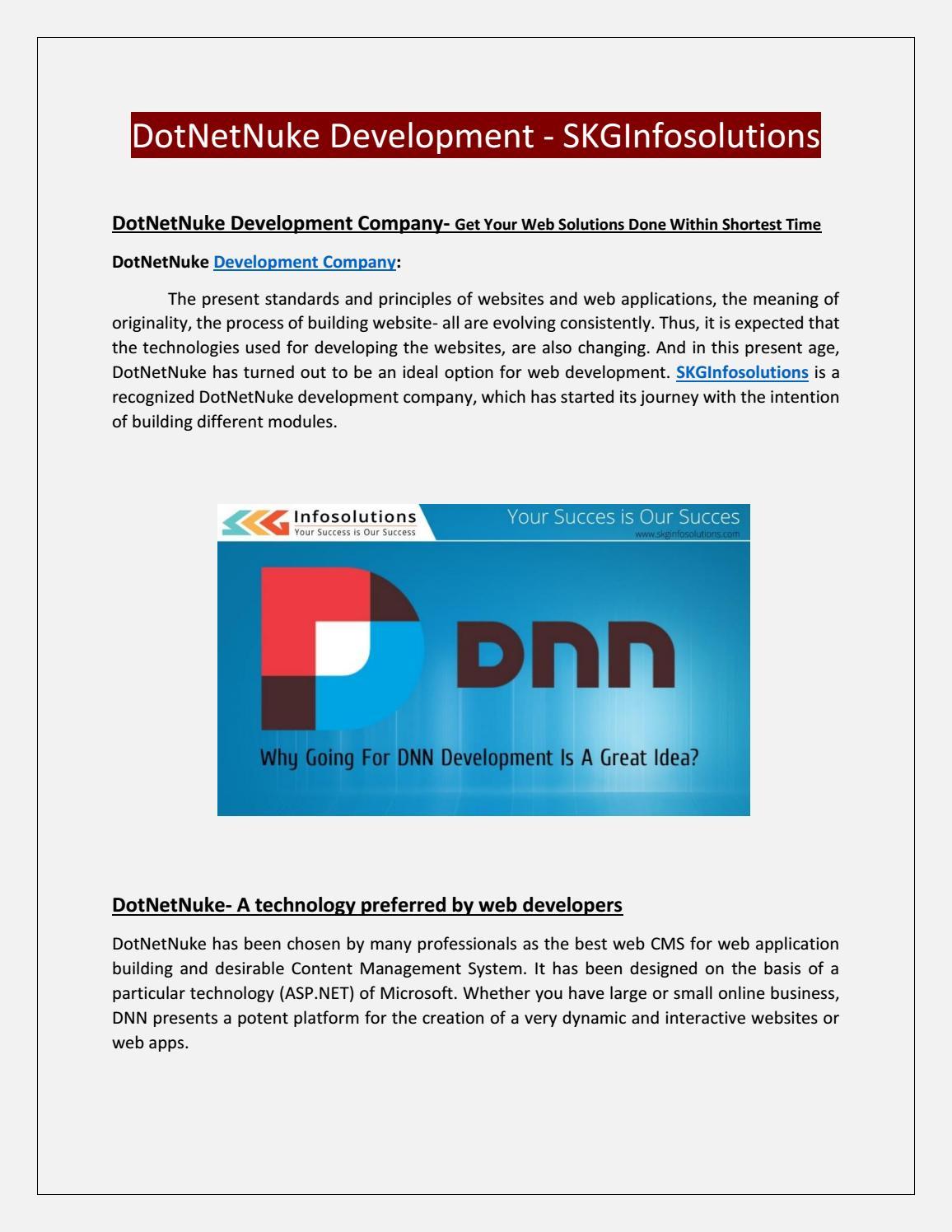 Dotnetnuke development Company - skg infosolutions by ...