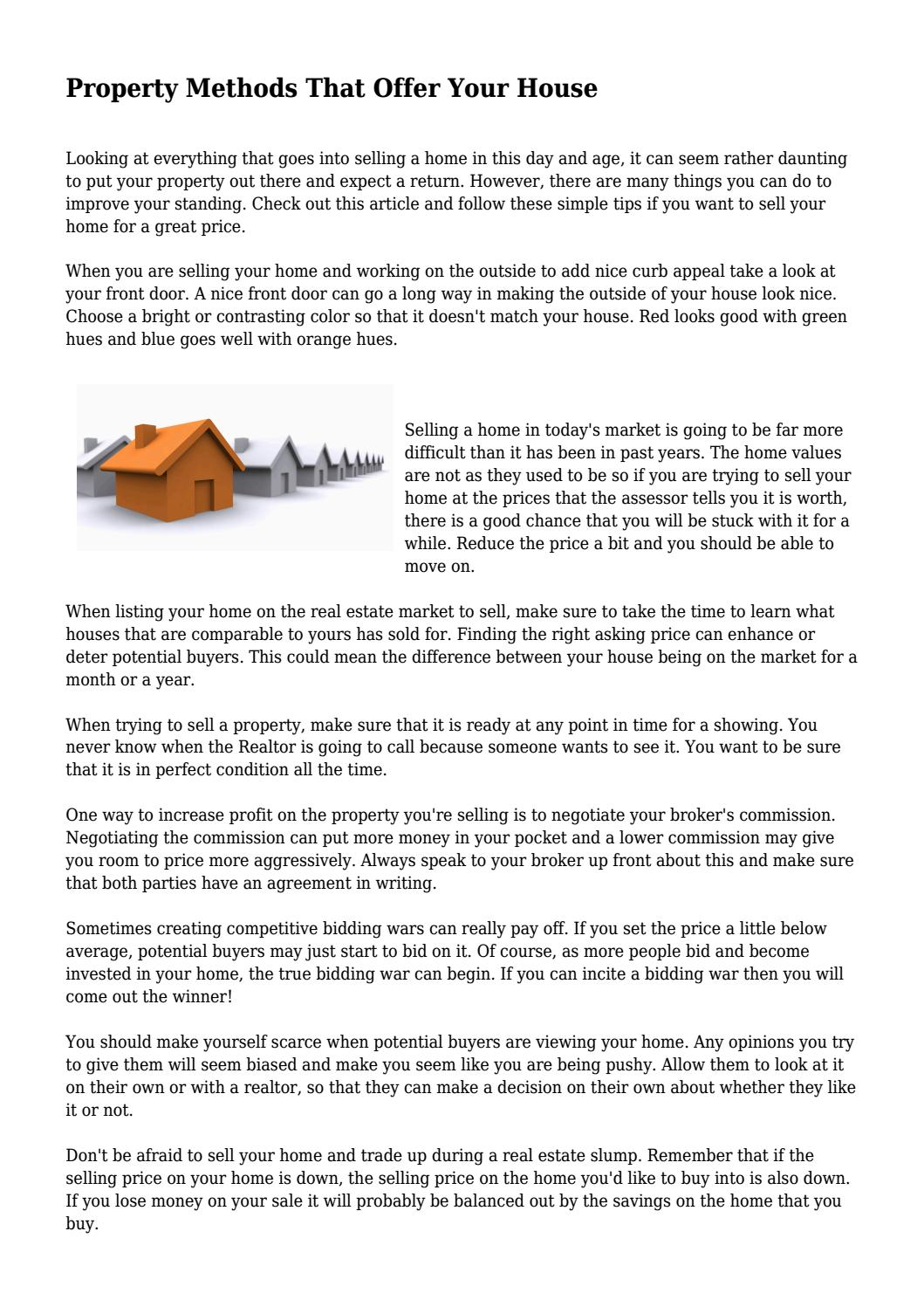 Property Methods That Offer Your House... By Finickymovie5336   Issuu