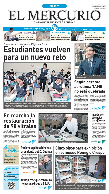 hemeroteca 25-04-2017 by Diario El Mercurio Cuenca - issuu e61791ad125d6