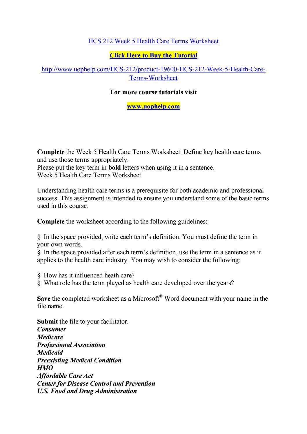 Hcs 212 week 5 health care terms worksheet by ...