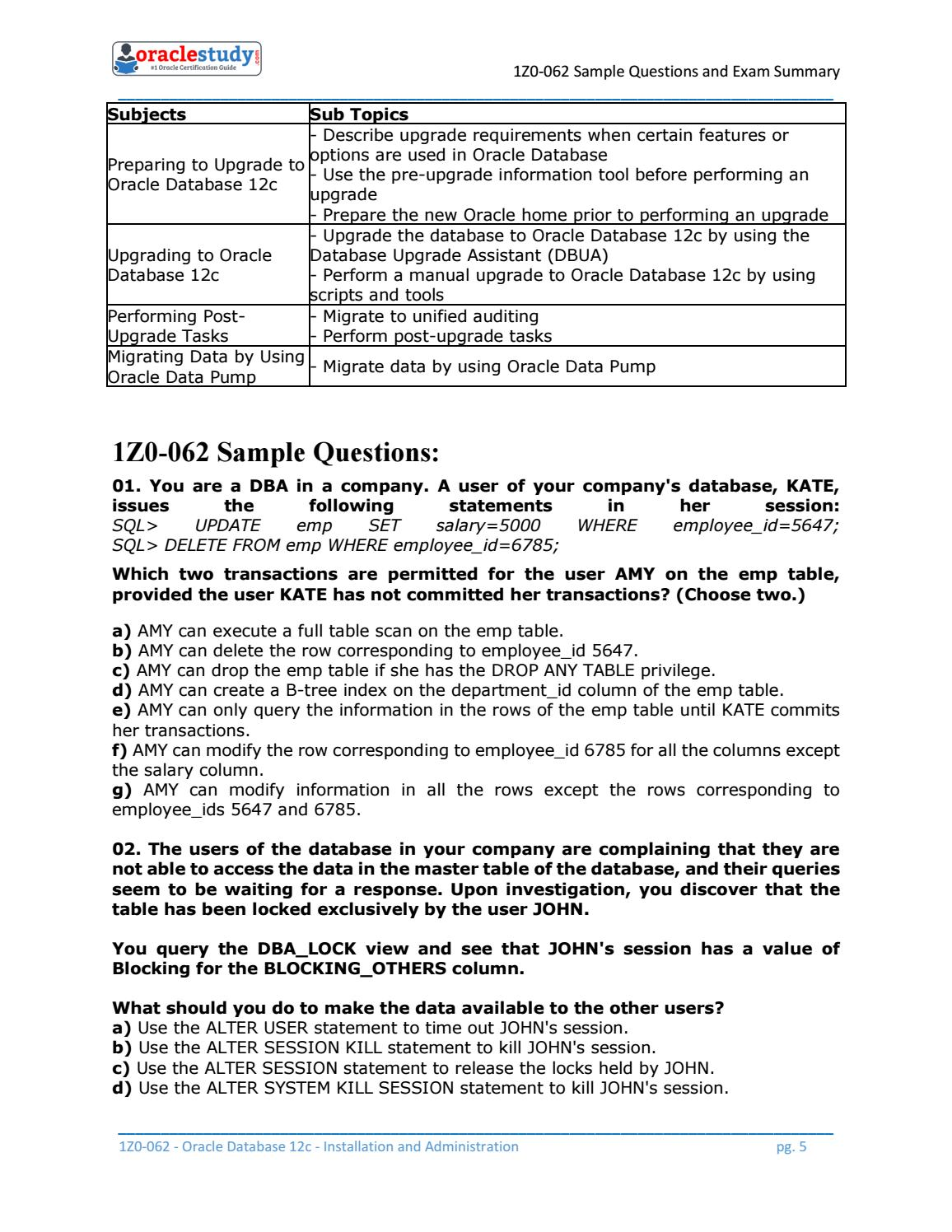 How to Prepare for 1Z0-062 exam on Oracle Database 12c by Alice ...