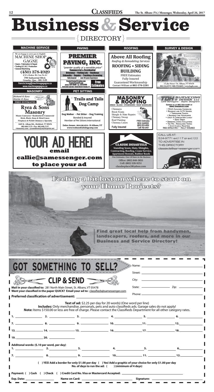 04 26 2017 Classifieds By St Albans Messenger Issuu