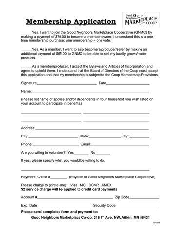 Membership Form by Good Neighbors Marketplace Coop - issuu