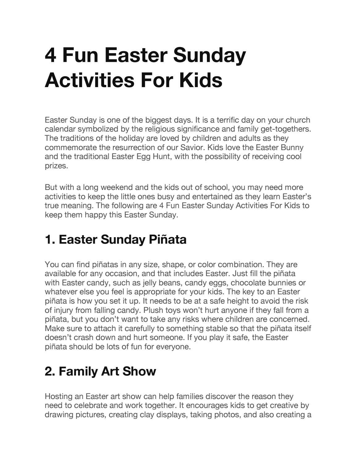 4 Fun Easter Sunday Activities For Kids By Orlando Coupons Issuu