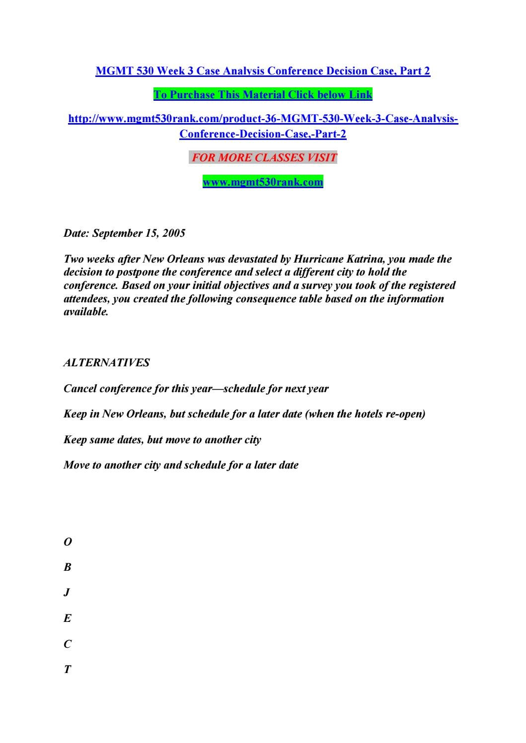 week 2 case analysis conference decision case