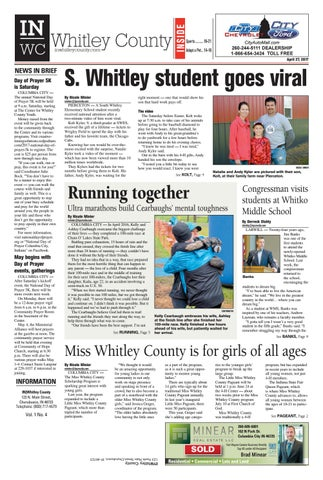 COLUMBIA CITY — The annual National Day of Prayer 5K will be held at 9 a.m.  Saturday, starting at The Center for Whitley County Youth.